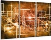 Canvas schilderij Abstract   Bruin, Wit   120x80cm 3Luik