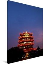 Verlichting van de kraantoren in Wuhan Canvas 80x120 cm - Foto print op Canvas schilderij (Wanddecoratie woonkamer / slaapkamer) / Aziatische steden Canvas Schilderijen