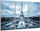 Glas schilderij Parijs, Eiffeltoren   Blauw, Grijs   120x80cm 3Luik   Foto print op Glas    F006790