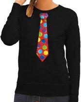 Foute kersttrui / sweater stropdas met kerstballen print zwart voor dames S (36)