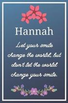 Hannah Let your smile change the world, but don't let the world change your smile.