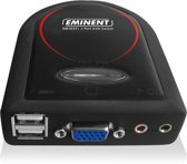 Eminent 2 Port KVM Switch USB w/ Audio Zwart KVM-switch