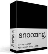 Snoozing Jersey Stretch - Hoeslaken - Extra Hoog - Lits-jumeaux - 200x200/220 cm - Zwart