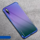 Electroplated Soft TPU Case Cover geschikt voor Huawei P20 Pro - Transparant/Blauw