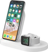 Belkin BOOST UP draadloze oplader oplaadstation voor iPhone & Apple Watch, met USB-A-poort 2.4A- Wit