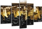 Glasschilderij Steden | Geel, Zwart, Wit | 170x100cm 5Luik | Foto print op Glas |  F003067