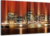 Canvas schilderij Nacht   Rood, Geel, Bruin   140x90cm 1Luik