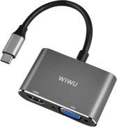 A20VH Lite Type-C to HDMI Type-c to VGA Adapter,2in1 HDMI 4K 60HZ,VGA 1080P USB Type C Converter, for New Apple MacBook Pro, MacBook,Chromebook,DELL,HP,ASUS,All Type-c Computers - Grijs