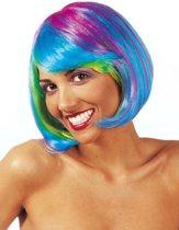 Veelkleurige fluo pruik voor vrouwen - Verkleedpruik