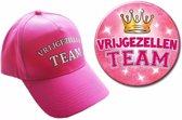 8 Vrijgezellen Team petjes en buttons voor dames