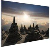 Borobudur bij zonsondergang Indonesie Aluminium 120x80 cm - Foto print op Aluminium (metaal wanddecoratie)