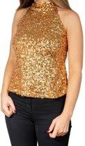 Gouden glitter pailletten disco halter topje/ shirt dames - Gouden glitter carnaval/ verkleed kleding L/XL (42-44)