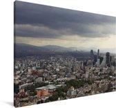 Donkere wolken boven de miljoenenstad Mexico-stad Canvas 180x120 cm - Foto print op Canvas schilderij (Wanddecoratie woonkamer / slaapkamer) XXL / Groot formaat!