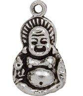 Bedel Buddha (27 x 15 mm) Antiek Zilver (5 Stuks)