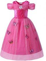 Prinsessenjurk roze verkleedjurk maat 86/92 + staf en kroon (labelmaat 100)