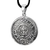 Kalender van de Azteken zilveren hanger