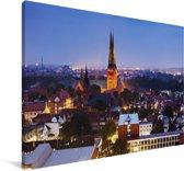 Verlichting in het centrum van Lübeck Canvas 30x20 cm - klein - Foto print op Canvas schilderij (Wanddecoratie woonkamer / slaapkamer) / Europese steden Canvas Schilderijen