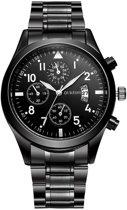 Oukeshi Black Steel - Heren Horloge - Staal - Zwart