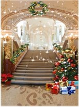 1.5x2.1m Vinyl Achtergrond Kerstboom European Palace Trap Studio Achtergrond