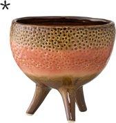 Bloomingville - Bloempot op pootjes - Stoneware - 13xH12 cm - Oranje/Bruin