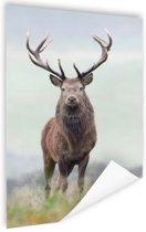 Edelhert portret Poster 75x150 cm - Foto print op Poster (wanddecoratie woonkamer / slaapkamer) / Dieren Poster