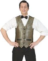 Goud/zwart verkleed gilet voor heren - Carnaval verkleed accessoire voor volwassenen 52-54 (L/XL)