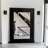 Passpiegel XXL   Spiegel Zwarte Lijst Hout Handgemaakt  250 x 160 cm
