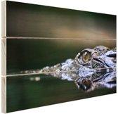 FotoCadeau.nl - Oog van krokodil Hout 120x80 cm - Foto print op Hout (Wanddecoratie)