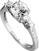 Diamonfire - Zilveren ring met steen Maat 18.0 - Rond met 2 baguettes aan zij