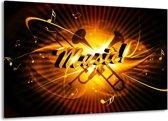 Canvas schilderij Muziek   Goud, Geel, Zwart   140x90cm 1Luik