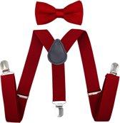 Fako Fashion® - Kinder Bretels Met Vlinderstrik - Effen - 65cm - Donkerrood