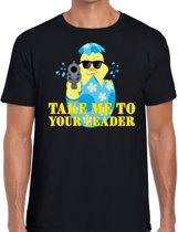 Fout Paas t-shirt zwart take me to your leader voor heren - Pasen shirt 2XL