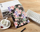 H.K. Draaibaar/Boekhoesje hoesje zwart met paarse bloemen print geschikt voor Apple Ipad AIR/AIR2/2017/2018