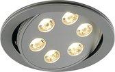TRITON 6, inbouwspot, rond, zilver geanodiseerd, 6x3W LED warmwit, richtbaar