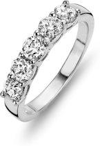 Silventi 943284391-58 Zilveren ring - ronde zirkonia Ø 4 mm - maat 58 - zilverkleurig