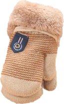 Baby handschoenen met voering   bruin creme  9-24 maanden