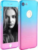 Geleidelijke Kleur Veranderende 360-graden Bescherming Case Cover voor iPhone 7 _ BlauwRoze