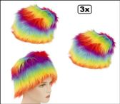 3x Bontmuts regenboogkleuren