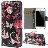 iPhone 6 6s Portemonnee Hoesje Case Butterfly Zwart