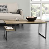 [en.casa]® Design salontafel met plank - Granby - houtlook