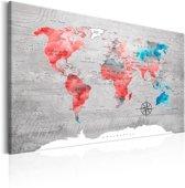 Schilderij - Wereldkaart , Gekleurde landen