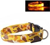 LED Halsband Camo GEEL maat XL