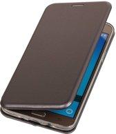 BestCases.nl Grijs Premium Folio leder look booktype smartphone hoesje voor Samsung Galaxy J7 2016 J710F