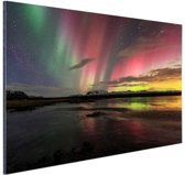Noorderlicht in IJsland Aluminium 90x60 cm - Foto print op Aluminium (metaal wanddecoratie)