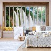 Fotobehang 3D Window View Waterfall   V4 - 254cm x 184cm   130gr/m2 Vlies