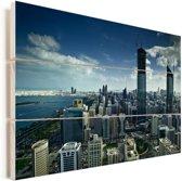 Het stadscentrum van Abu Dhabi in de Verenigde Arabische Emiraten Vurenhout met planken 120x80 cm - Foto print op Hout (Wanddecoratie)