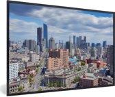Foto in lijst - De stedelijke horizon van Shenyang in China fotolijst zwart 60x40 cm - Poster in lijst (Wanddecoratie woonkamer / slaapkamer)