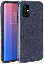 Samsung Galaxy A51 Hoesje - Siliconen Glitter Backcover - Zwart