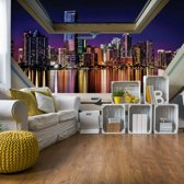 Fotobehang City Skyline Night 3D Skylight Window View | VEXXL - 312cm x 219cm | 130gr/m2 Vlies