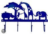 Global Affairs   Metalen kapstok Safari - Blauw (22 x 15 cm)
